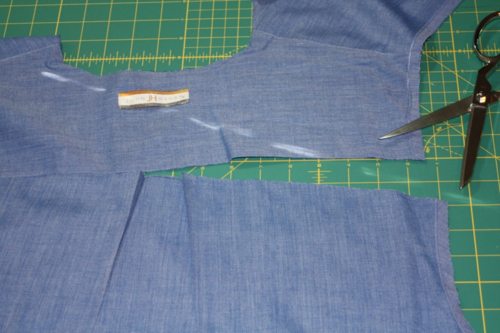 Avery Lane Blog upcycle tutorial mens dress shirt into girl's  tunic11