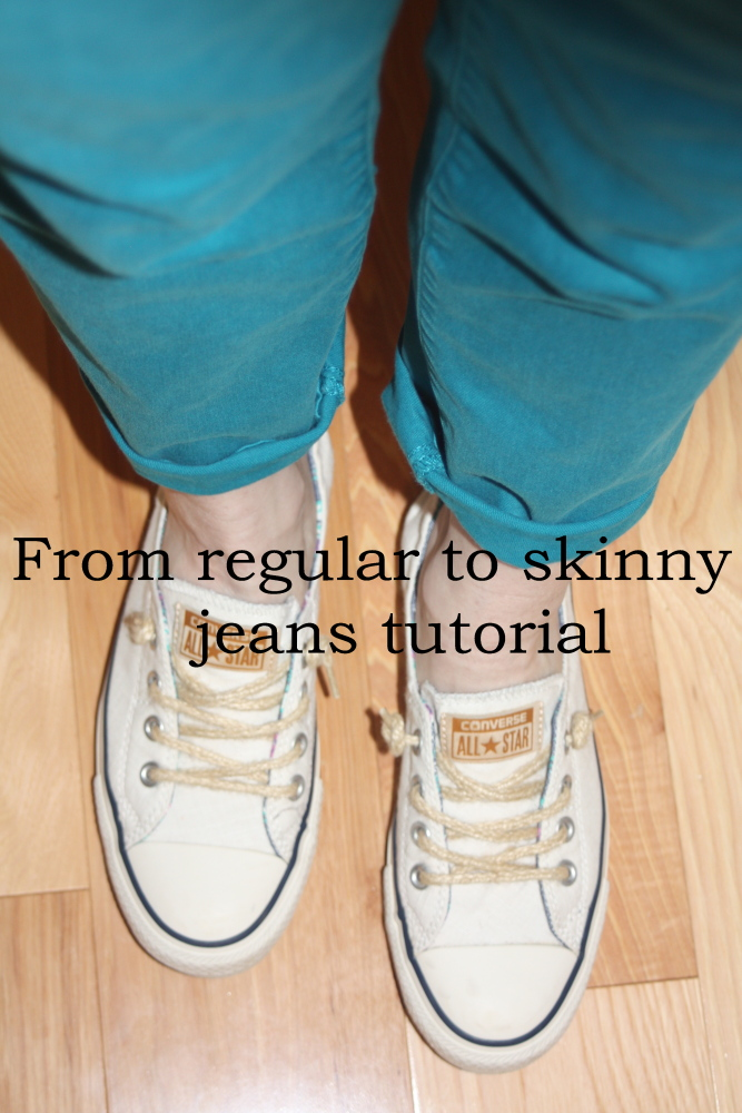 tutorial for making skinny jeans from regular jeans