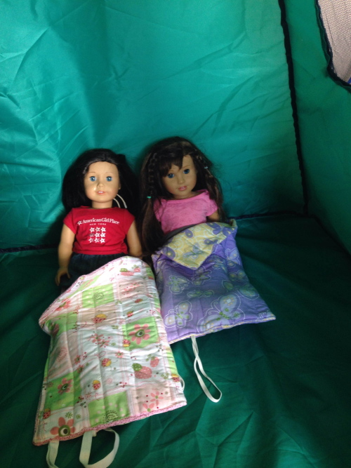 Yonda's daughters made sleeping bags project from Sew in Style book for kids to learn to sew