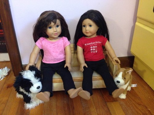 Yonda's daughters made yoga pants from the book Sew in Style Make Your Own Doll Clothes